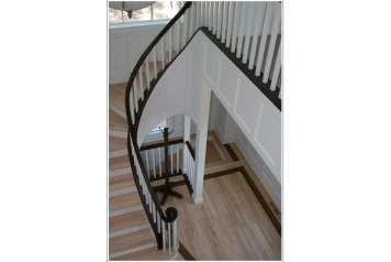 Zimmerman Construction Beaver Lodge Shell Lake, WI Custom Railing Foyer Walnut (Natural)