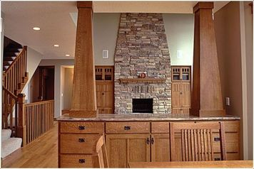 Lake Country Construction Palmberg Home Balsam Lake, WI Great Room Pillars, Woodwork, Cabinetry Quarter Sawn Oak (Stained)