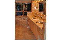 Lake Country Construction DeWitt Home Cumberland, WI Master Bathroom Vanity, Woodwork Maple (Natural)