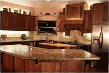 Lane Construction & Concre Murray Home Alvarado, TX Kitchen Cabinetry / Relief Carving Walnut (Natural)
