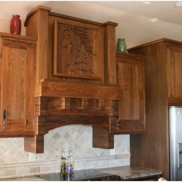 Lane Construction Murray Home Alvarado, TX Range Hood and Relief Carving Walnut (Natural)